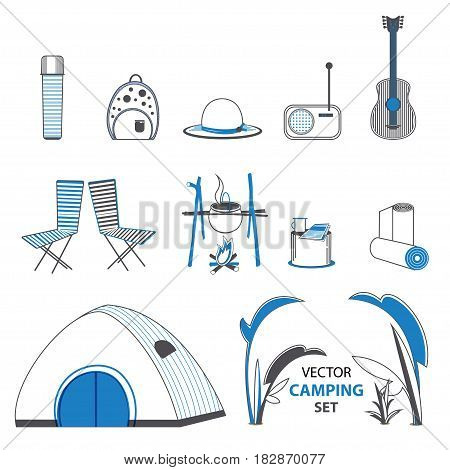 Sketch camping elements set with tent thermos hat backpack radio guitar mat chairs pan isolated vector illustration