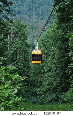 Funicular tram takes people across the glen.