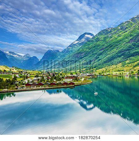 Natural summer natural fjord landscape, Norway village