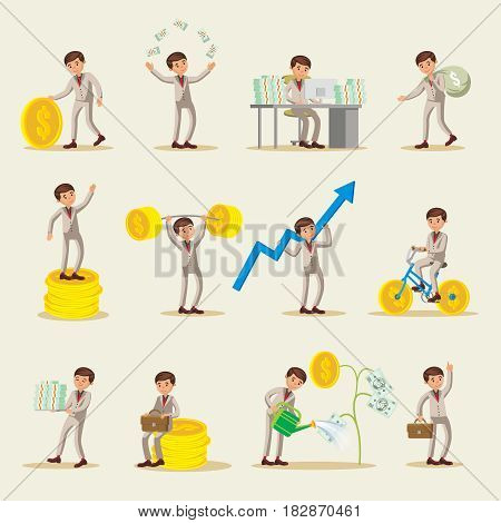 Business investment characters set with successful businessman gold coins and banknotes in different variations isolated vector illustration
