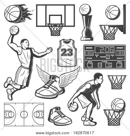 Vintage basketball elements set with players court balls prize scoreboard sneakers and shirt isolated vector illustration