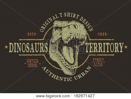T-rex head.Grunge retro label with tyranosaur.Prints design of t-shirts or other uses. Vector typography