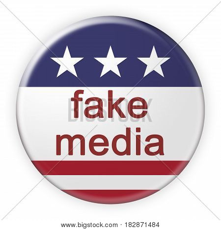 USA Politics News Badge: Fake Media Button With US Flag 3d illustration