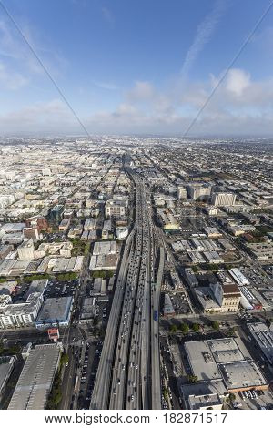 Los Angeles, California, USA - April 12, 2017:  Aerial view of afternoon traffic on the Santa Monica 10 Freeway south of downtown.