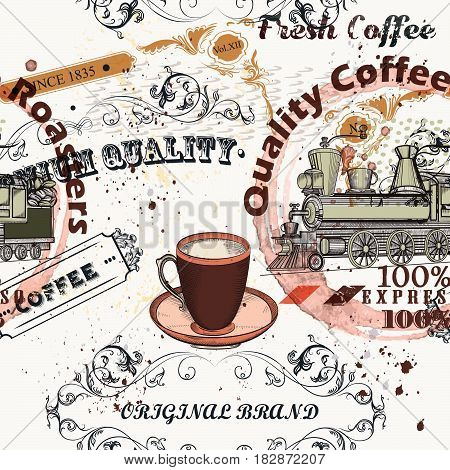 Coffee vector pattern in vintage style with labels, flourishes and spots