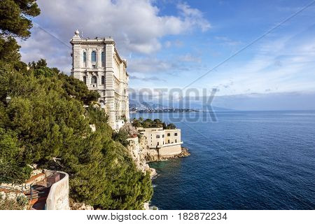 Monaco and Monte Carlo principality. Sea view Oceanographic museum building