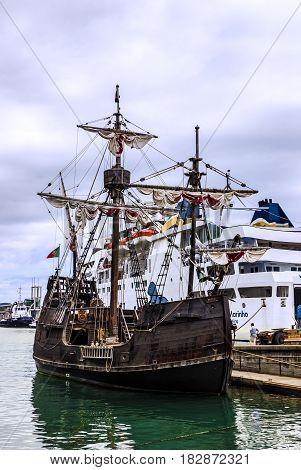 Funchal, Portugal - April 21, 2017: Vintage vessel Santa Maria da Colombo, Madeira