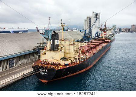 Savona, Italy - April 22, 2017: Bulk carrier dry cargo vessel bulker in Savona seaport Italy