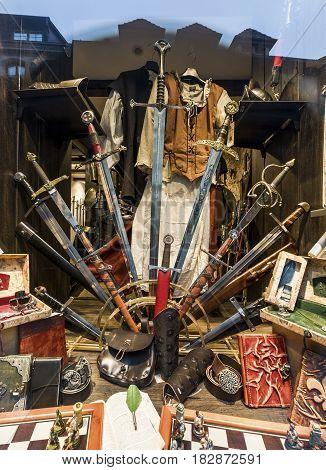 Rothenburg ob der Tauber, Germany - September 2017:  swords collection in a vintage store