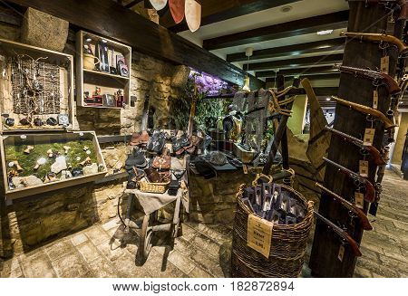 Rothenburg ob der Tauber, Germany - September 2017:  in the vintage store in the town