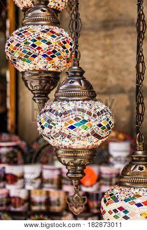 Arabic lamps oriental traditional souvenirs, Morocco shop