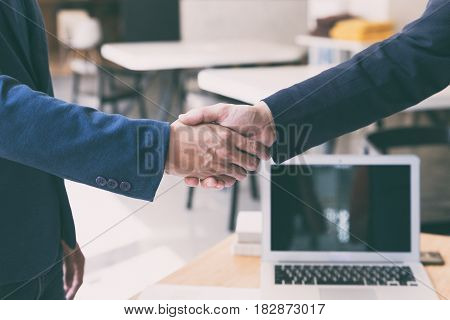 Businessman Handshaking After Meeting In Office - Teamwork, Cooperation, Agreement, Acquisition Conc