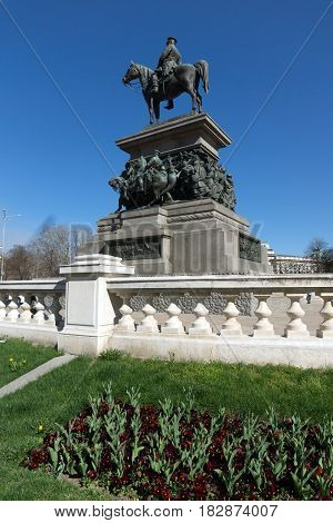 SOFIA, BULGARIA - APRIL 1, 2017: Monument to the Tsar Liberator in Sofia, Bulgaria