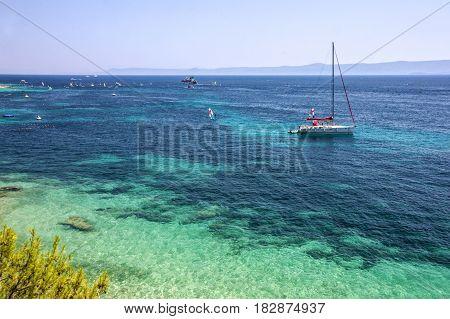 Adriatic sea water yacht, Croatia, Brac island