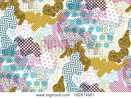 Vector Seamless Pattern With Hand Drawn Gold Glitter Textured Brush Strokes And Stripes