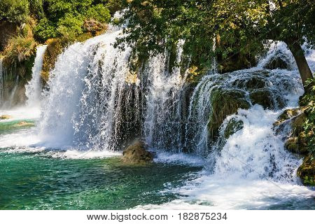 Waterfall in Croatia in Krka National park lake