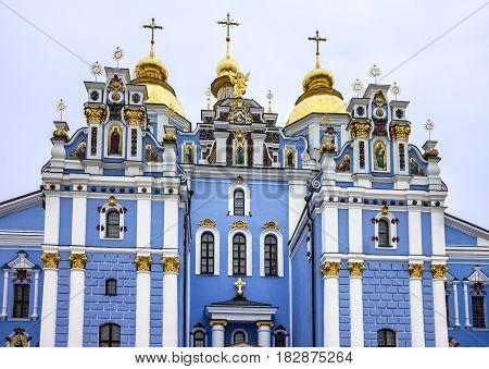 Kiev, Ukraine. Saint Michael's Golden-Domed Monastery architecture