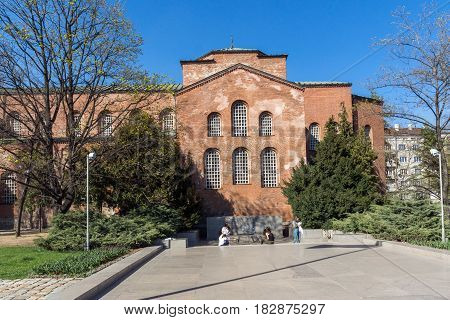 SOFIA, BULGARIA - APRIL 1, 2017: Amazing view of St. Sofia church and Monument of the Unknown Soldier in Sofia, Bulgaria