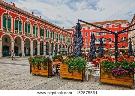 SPLIT CROATIA - AUG 5 2016: Split old town square