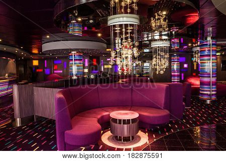 Cruise liner Splendida - April 20, 2017: Bar interior on cruise liner Splendida.