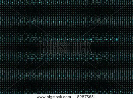 Binary Code Black And Cyan Blue Background.