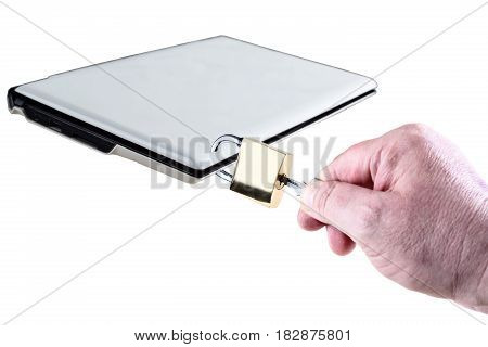 Computer protection with lock isolated on white background with male hand.