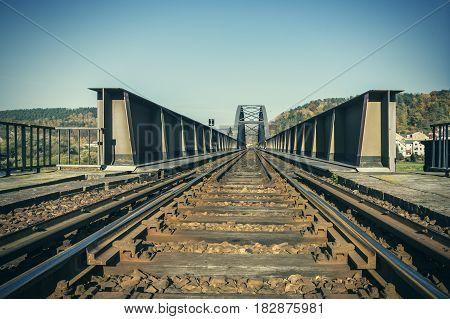 View of old stone railway bridge Bad Schandau GERMANY.