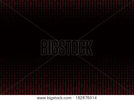 Binary code black and red background with two binary digits, 0 and 1 isolated on a black background. Halftone vector illustration.