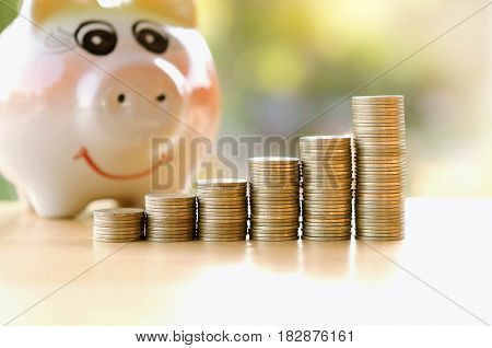 piggy bank and stack money growing and graph