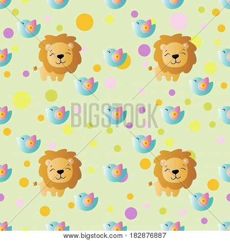 seamless pattern with cartoon cute toy baby lion bird and Circles on a light green background