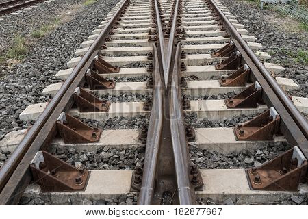 View of choose direction future crossing railway perspective