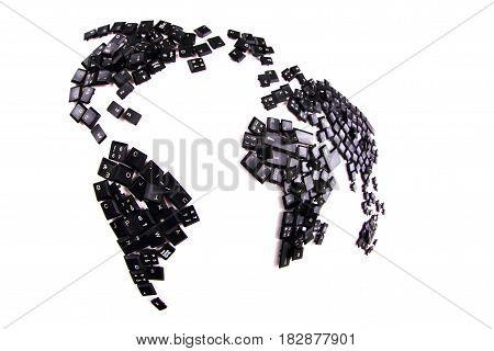 Black Keyboard Keys As World Map