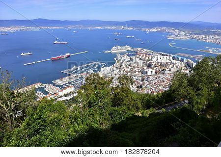 View of the town of Gibraltar and the busy harbor.