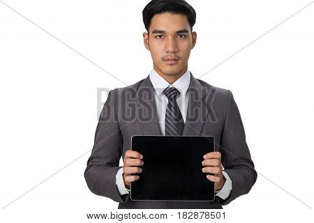 Young Asian Startup Entrepreneur Businessman Wearing Gray Suit Holding And Showing Touch Screen Tabl