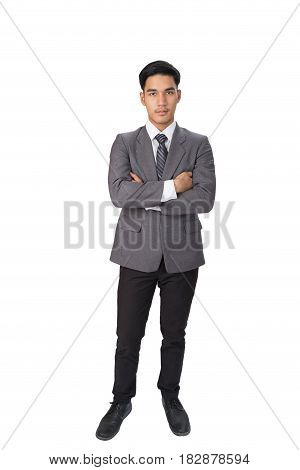 Young Asian Confident Startup Entrepreneur Businessman Wearing Gray Suit Standing With Folded Arms O