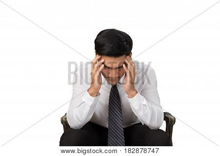 Headache And Troubled Of Young Businessman, Business Man Hand On His Head Feeling Tense And Worried