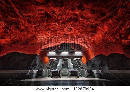Stockholm Solna Centrum metro station, Sweden