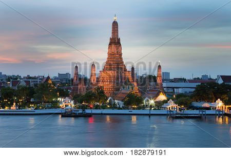 Twilight at Arun temple water front Bangkok Thailand Landmark