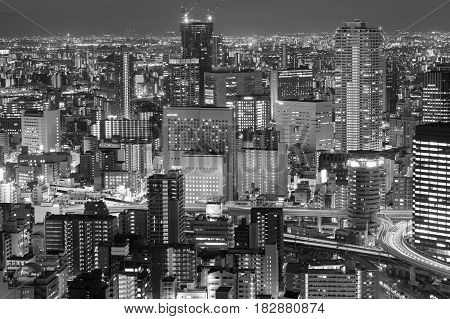 Black and White Osaka city office central business downtown Japan