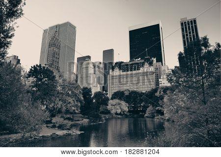 Central Park Autumn and midtown skyline in Manhattan New York City