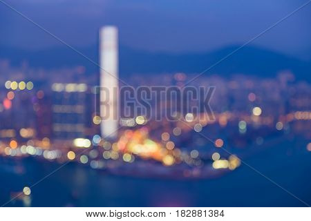 Twilight blurred bokeh light Hong Kong central business downtown abstract background