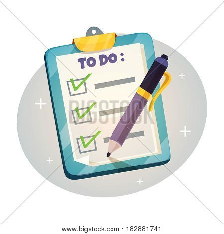 Checklist on the clipboard design concept. To do list with check marks and  pen. Vector illustration in retro cartoon style