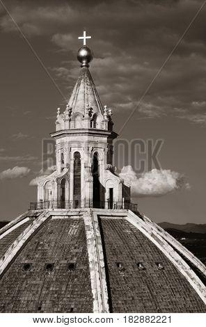 Duomo Santa Maria Del Fiore dome closeup view in Florence Italy.
