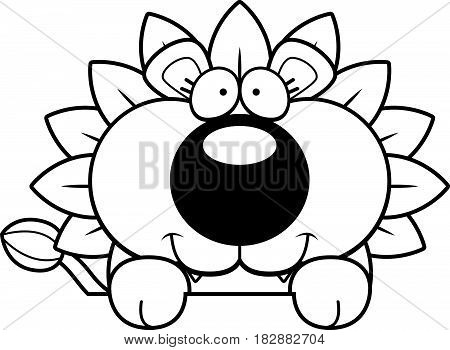 Cartoon Dandelion Lion Peeking