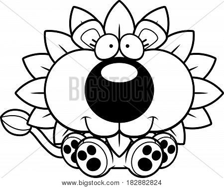 Cartoon Dandelion Lion Sitting