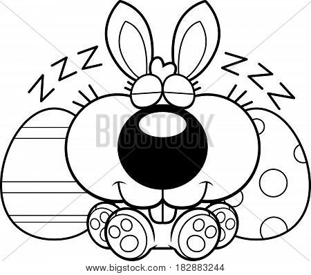 Cartoon Easter Bunny Napping