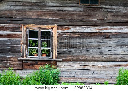 Abandoned Ruins Of Old Wooden Building