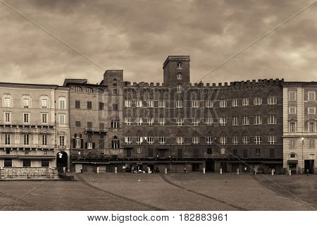 Old buildings in Piazza del Campo in Siena, Italy.