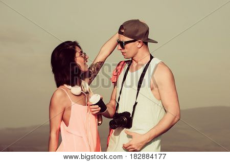Young Couple Of Lovers In Stylish Clothes
