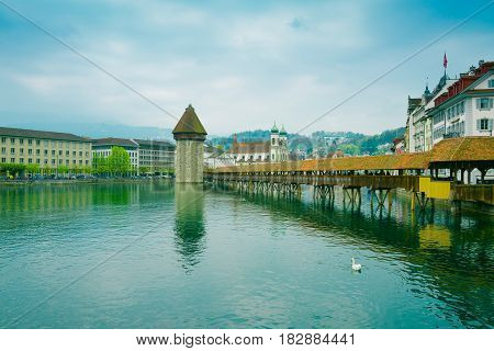 Cityscape of Lucerne with famous Chapel Bridge and lake Lucerne Switzerland